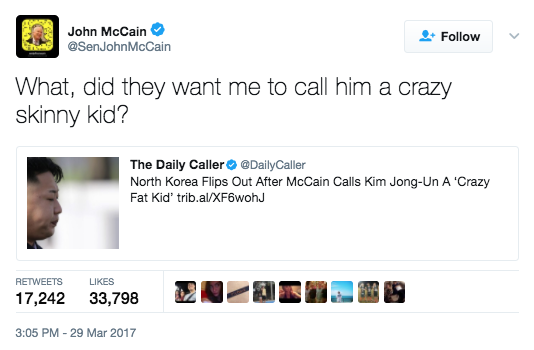 "Screen Shot 2017 03 30 at 9.05.56 AM - McCain Has Hilarious Response To North Korea's ""Crazy Fat Kid"" Outrage"