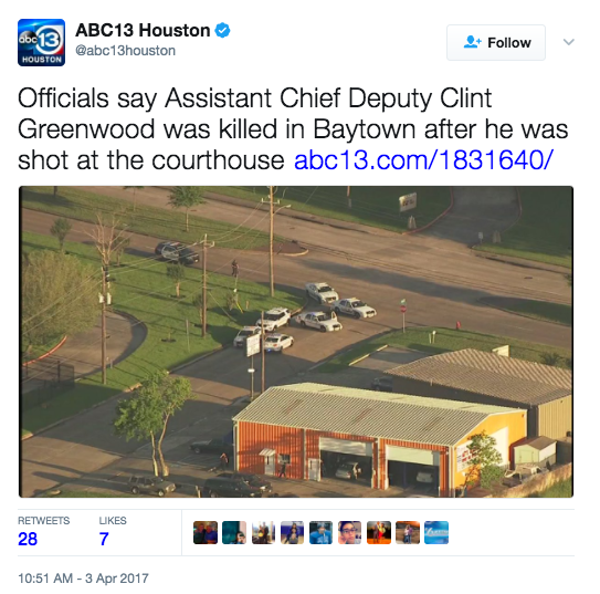 Screen Shot 2017 04 03 at 11.08.30 AM - Texas Police Officer Shot & Killed At Courthouse - Suspect At Large