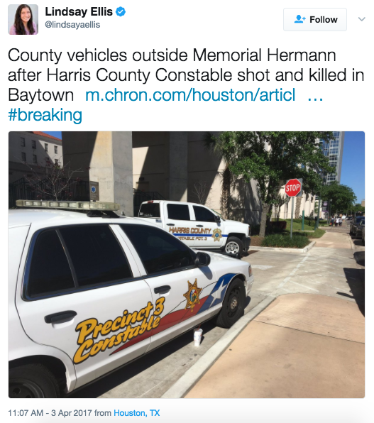 Screen Shot 2017 04 03 at 11.08.41 AM - Texas Police Officer Shot & Killed At Courthouse - Suspect At Large