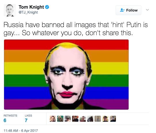 Screen Shot 2017 04 06 at 12.13.10 PM - Tyrannical Russia Bans Sharing Of Image That Makes Putin Look Gay