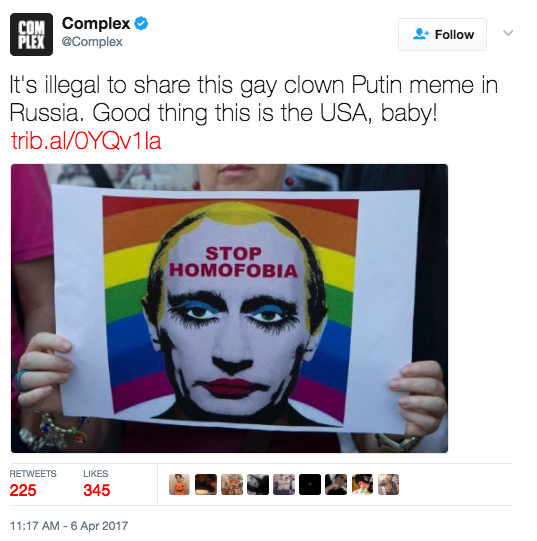Tyrannical Russia Bans Sharing Of Image That Makes Putin Look Gay Controversy Featured News Russia