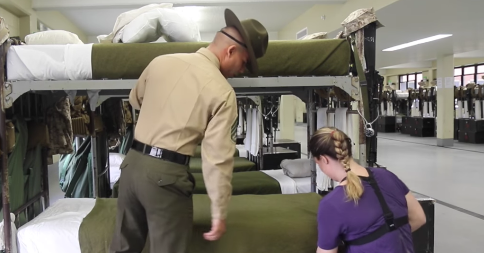 Watch a frustrated Marine drill instructor teach a reporter how to make a bed Featured