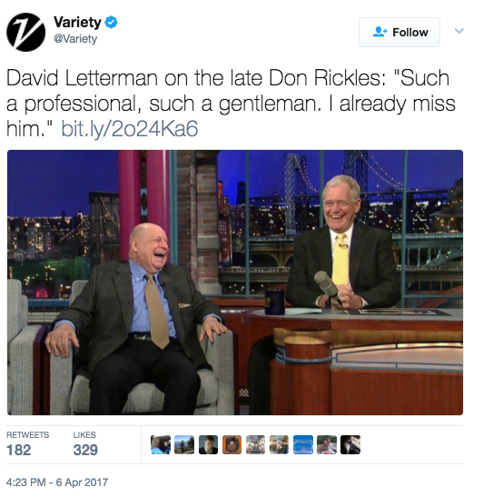 Screen Shot 2017 04 06 at 5.42.53 PM - Don Rickles, WWII Vet & Comedian, Dies At 90
