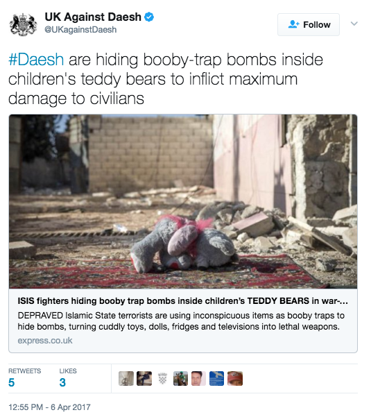 Screen Shot 2017 04 07 at 1.16.08 PM - ISIS Militants Hide Bombs In TVs, Fridges & Teddy Bears To Hit Civilians In Syria