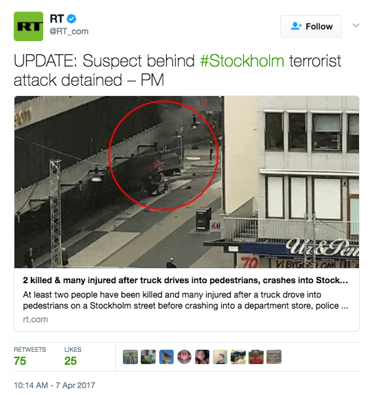 Screen Shot 2017 04 07 at 10.22.36 AM - Truck Attack Plows Through Crowd In Sweden - Deaths Reported (VIDEO)
