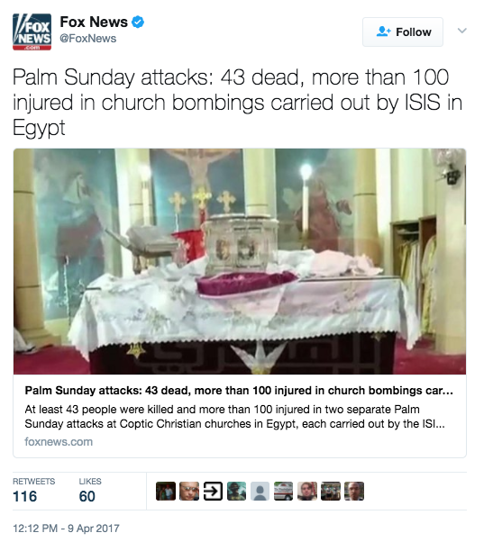 Screen Shot 2017 04 09 at 3.20.10 PM - [UPDATES] ISIS Palm Sunday Massacre: Multiple Church Bombings In Egypt - 36+ Dead, 100+ Injured