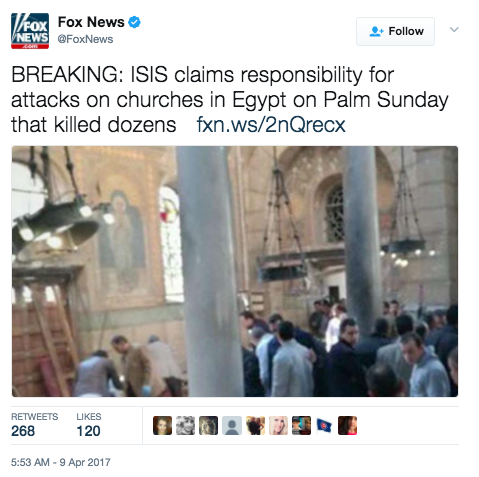 Screen Shot 2017 04 09 at 9.03.54 AM - [UPDATES] ISIS Palm Sunday Massacre: Multiple Church Bombings In Egypt - 36+ Dead, 100+ Injured