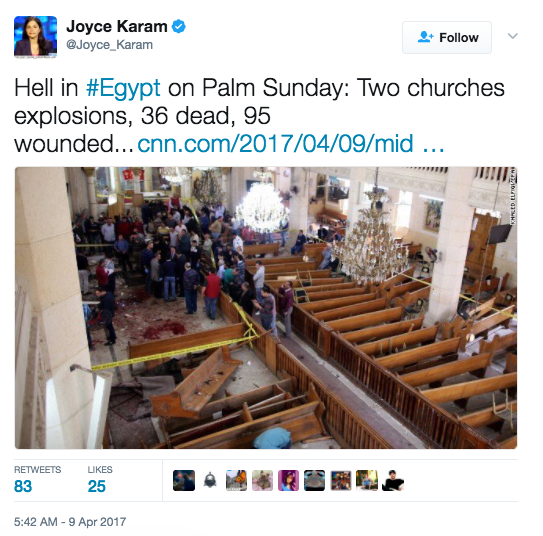 Screen Shot 2017 04 09 at 9.05.18 AM - [UPDATES] ISIS Palm Sunday Massacre: Multiple Church Bombings In Egypt - 36+ Dead, 100+ Injured