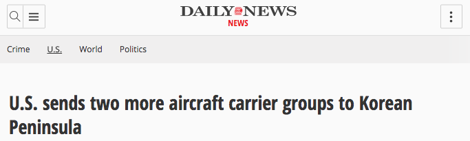 """Screen Shot 2017 04 18 at 2.09.45 PM - Navy Official: Two More Aircraft Carriers """"Absolutely Not"""" Headed To Korean Peninsula, In Response To Fake News Reports"""