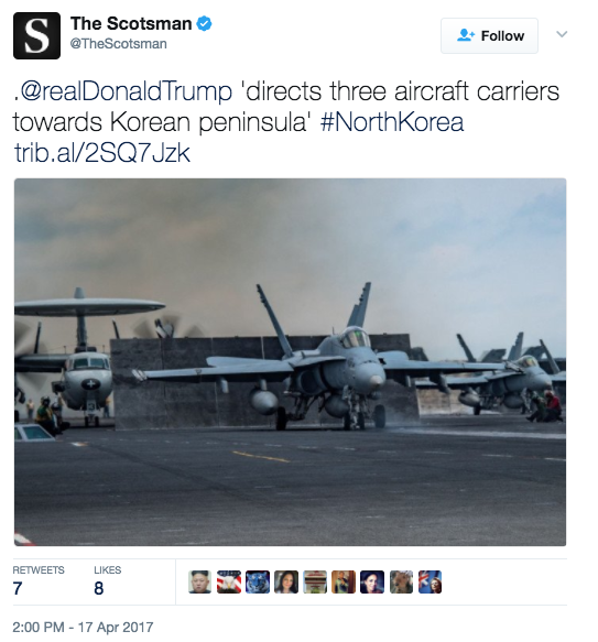 """Screen Shot 2017 04 18 at 3.02.16 PM - Navy Official: Two More Aircraft Carriers """"Absolutely Not"""" Headed To Korean Peninsula, In Response To Fake News Reports"""