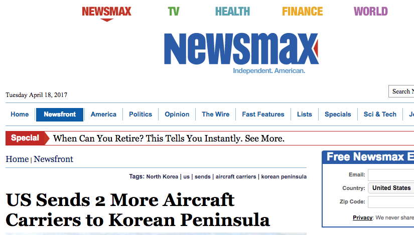 """Screen Shot 2017 04 18 at 3.05.12 PM - Navy Official: Two More Aircraft Carriers """"Absolutely Not"""" Headed To Korean Peninsula, In Response To Fake News Reports"""