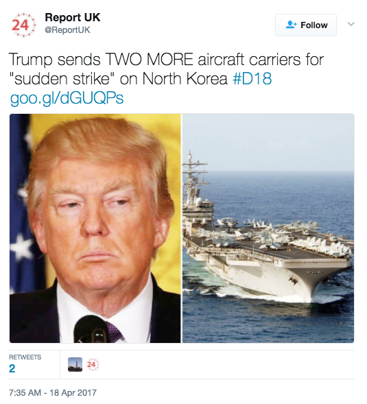 "Screen Shot 2017 04 18 at 3.05.26 PM - Navy Official: Two More Aircraft Carriers ""Absolutely Not"" Headed To Korean Peninsula, In Response To Fake News Reports"