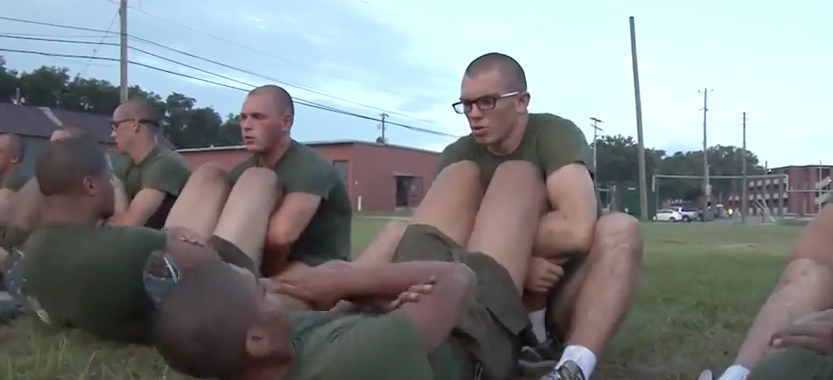 Screen Shot 2017 04 19 at 6.04.37 PM - (VIDEO) Marine Recruits Run Initial Strength Test At Basic Training