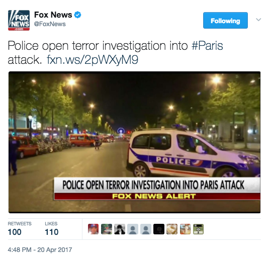 Screen Shot 2017 04 20 at 5.00.18 PM - Paris Terror Attack: One Police Officer Killed, Two Injured - ISIS Takes Credit