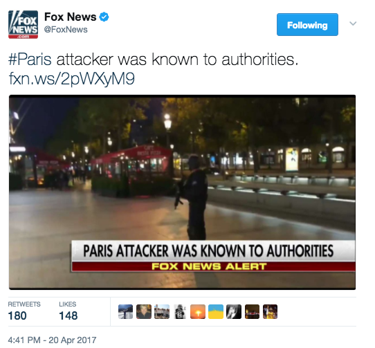 Screen Shot 2017 04 20 at 5.01.16 PM - Paris Terror Attack: One Police Officer Killed, Two Injured - ISIS Takes Credit