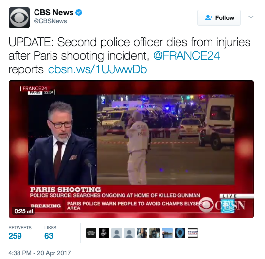 Screen Shot 2017 04 20 at 5.02.09 PM - Paris Terror Attack: One Police Officer Killed, Two Injured - ISIS Takes Credit