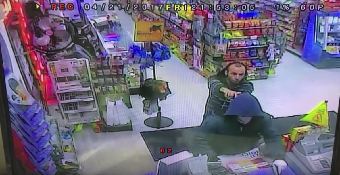 Screen Shot 2017 04 27 at 11.31.33 AM - (VIDEO) Armed Convenience Store Employees Disarm Robber & Hold Him Until Police Arrive