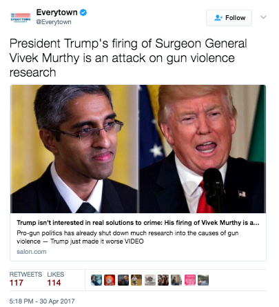 Screen Shot 2017 05 03 at 11.14.47 AM - Everytown Gun Control Group Calls Trump's Firing Of Surgeon General An Attack On Gun Safety