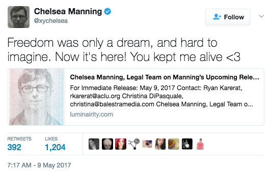 Screen Shot 2017 05 09 at 11.39.00 AM - Chelsea Manning To Be Released From Military Prison Next Week