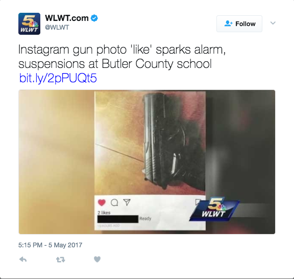"""Screen Shot 2017 05 09 at 3.47.35 PM - Middle School Student Suspended After """"Liking"""" A Gun Photo On Instagram"""