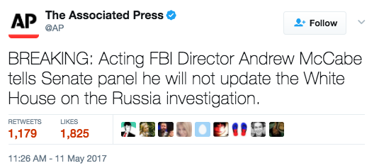 Screen Shot 2017 05 11 at 11.44.40 AM - Acting FBI Director Says He Will Not Update White House On Russia Investigation