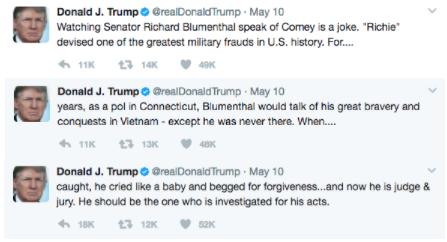 Screen Shot 2017 05 11 at 12.16.48 PM - President Trump Tweets His Defense After Firing FBI Director Comey