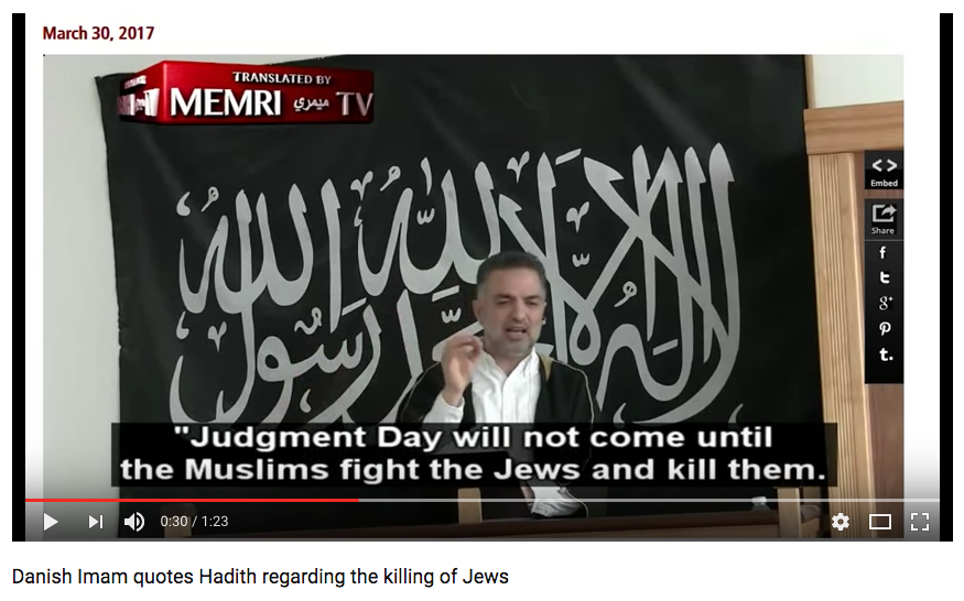 Screen Shot 2017 05 16 at 1.54.45 PM - (VIDEO) Danish Imam Calls For Followers to 'Kill' & 'Uproot' Jews