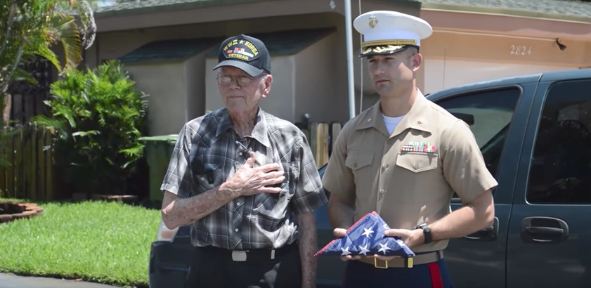 Screen Shot 2017 05 18 at 11.23.33 AM - (VIDEO) Marines Surprise World War II Vet With New American Flag