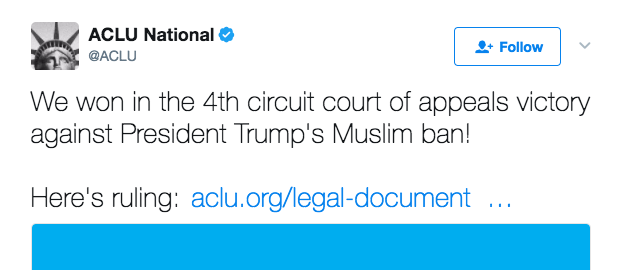Screen Shot 2017 05 25 at 2.40.37 PM - Fed. Appeals Court Upholds Block Of Trump's Temporary Middle East Travel Ban; Supreme Court Possible