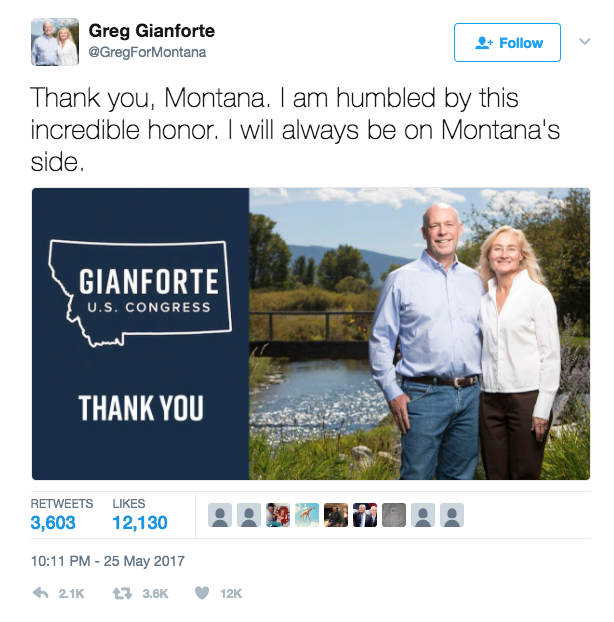 Screen Shot 2017 05 26 at 3.34.49 PM - Montana Rep. Greg Gianforte Literally Body Slammed A Reporter & It Probably Helped Him Win