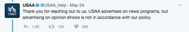 Screen Shot 2017 05 26 at 4.08.01 PM - USAA Comes Under Fire After Dropping Its Ads From Fox News' Sean Hannity Show