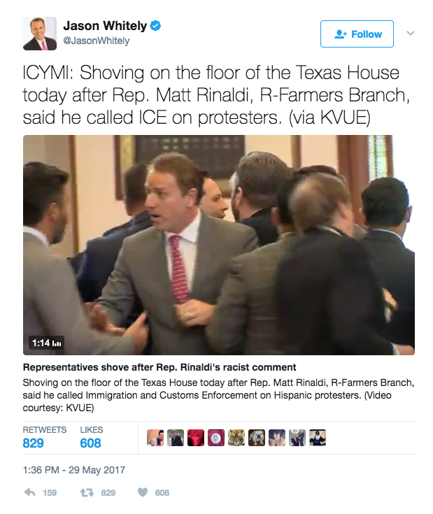 Screen Shot 2017 05 30 at 3.00.24 PM - Texas Politician Calls ICE On Illegal Immigrant Protestors; House Democrat Threatens To Kill Him In Scuffle