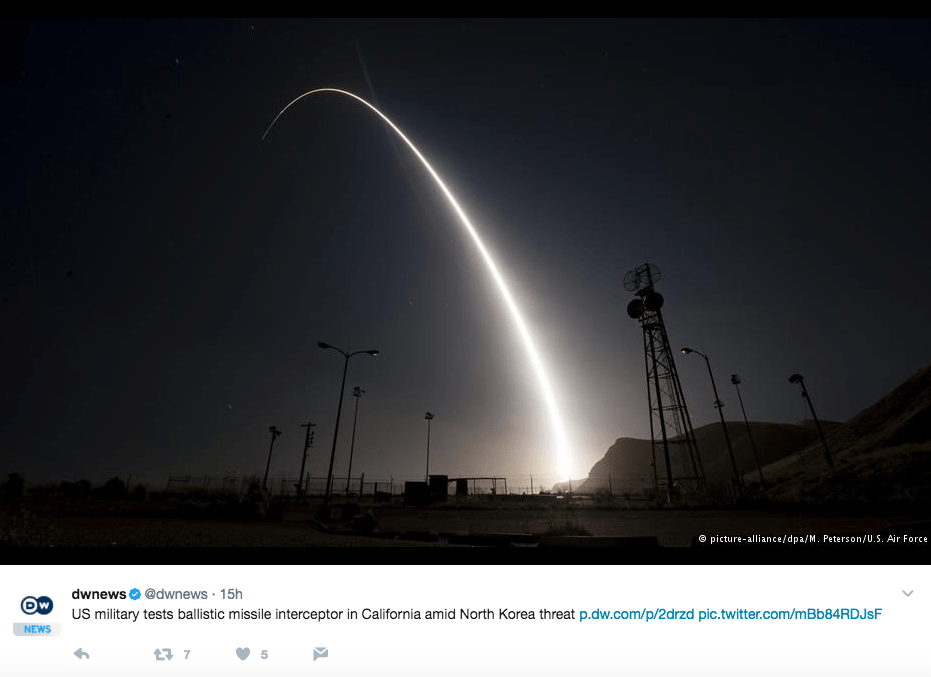 Screen Shot 2017 05 31 at 10.57.33 AM - Success: U.S. Interceptor Missile Destroys & Protects Against Ballistic Missile Test, Touted As 'Critical Milestone'