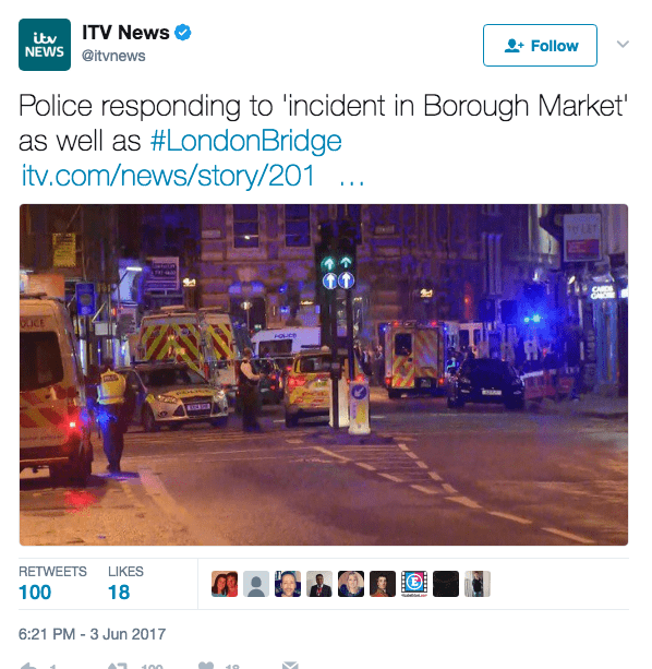 Screen Shot 2017 06 03 at 6.23.09 PM - Terror Attacks In London: 'This Is For Allah;' 6+ Dead, 30+ Injured As Van Mows Down People On London Bridge; Machete Stabbing Spree In Nearby Neighborhood