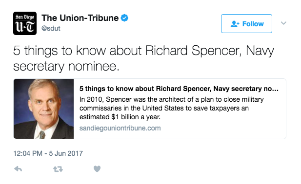 Screen Shot 2017 06 05 at 3.04.55 PM - President Trump Will Tap Richard Spencer, Financier And Former Marine Corps Captain, For Navy Secretary
