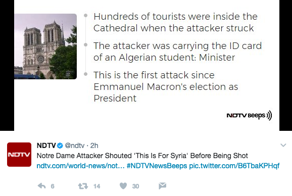 Screen Shot 2017 06 06 at 3.47.20 PM - Reports: Notre Dame Hammer Assailant Yelled 'This Is For Syria,' Police Investigating Possible Terrorism