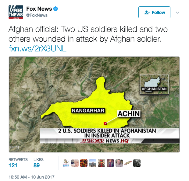Screen Shot 2017 06 10 at 11.16.46 AM - Three Army Soldiers Shot & Killed By Afghan Army Soldier Where MOAB Was Dropped; Taliban Takes Credit