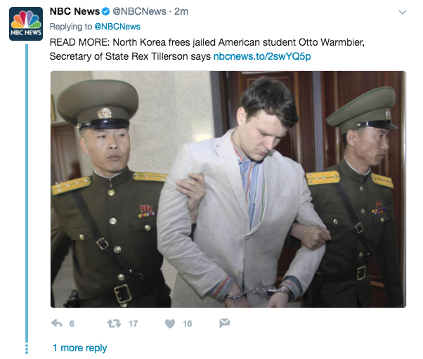 Screen Shot 2017 06 13 at 10.11.49 AM - US student just released by North Korea has been in a coma for 15 of his 17 months-long detention