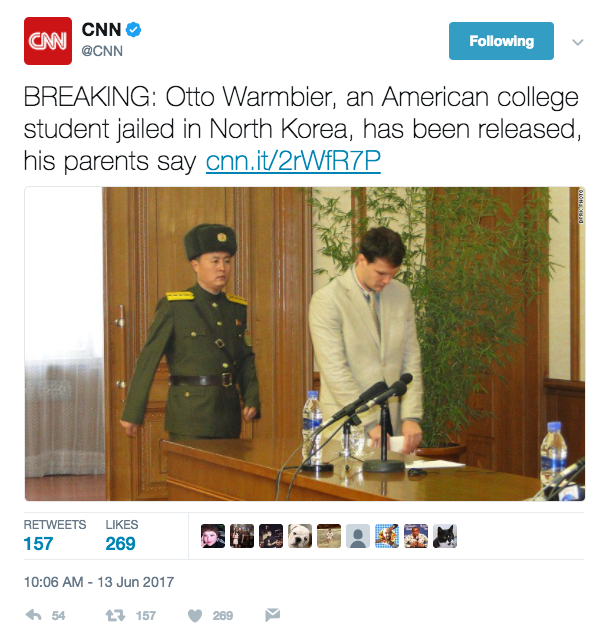 Screen Shot 2017 06 13 at 10.16.57 AM - US student just released by North Korea has been in a coma for 15 of his 17 months-long detention