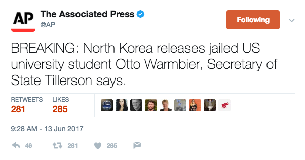 Screen Shot 2017 06 13 at 9.33.35 AM - US student just released by North Korea has been in a coma for 15 of his 17 months-long detention