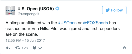 Screen Shot 2017 06 15 at 1.27.09 PM - VIDEO: Blimp at U.S. Open golf tournament caught fire and crashed, pilot reportedly parachuted out