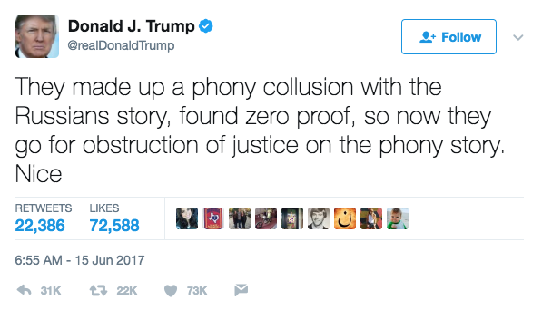 Screen Shot 2017 06 15 at 11.20.16 AM - President Trump tweets that he is being investigated for Russia collusion