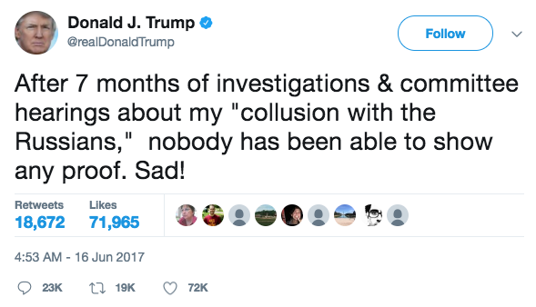Screen Shot 2017 06 16 at 2.37.10 PM - President Trump tweets that he is being investigated for Russia collusion