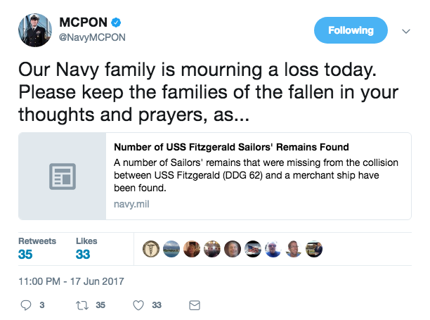 Screen Shot 2017 06 17 at 11.24.07 PM - The seven missing sailors from the USS Fitzgerald collision found dead inside flooded areas of the ship