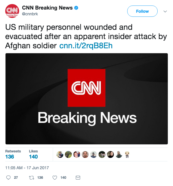 Screen Shot 2017 06 17 at 11.38.21 AM - Insider attack on Afghan Base; seven US soldiers injured and evacuated; Taliban praises