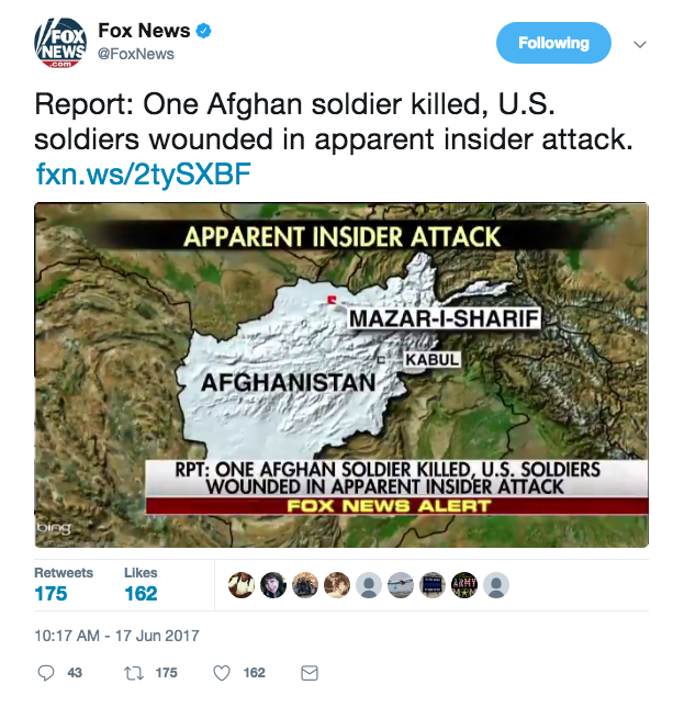 Screen Shot 2017 06 17 at 11.42.56 AM - Insider attack on Afghan Base; seven US soldiers injured and evacuated; Taliban praises