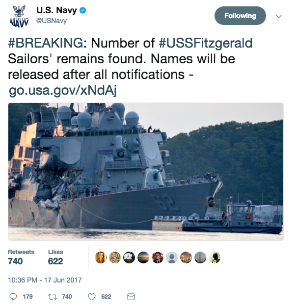 Screen Shot 2017 06 17 at 11.55.50 PM - The seven missing sailors from the USS Fitzgerald collision found dead inside flooded areas of the ship