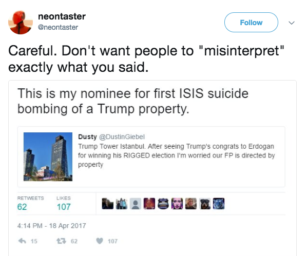 Screen Shot 2017 06 19 at 1.06.29 PM - In April, MSNBC contributor Malcolm Nance 'nominated' Trump property to be bombed by ISIS