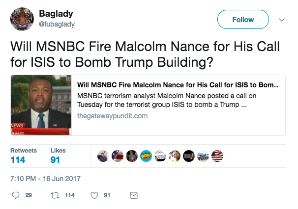 Screen Shot 2017 06 19 at 1.21.33 PM - In April, MSNBC contributor Malcolm Nance 'nominated' Trump property to be bombed by ISIS