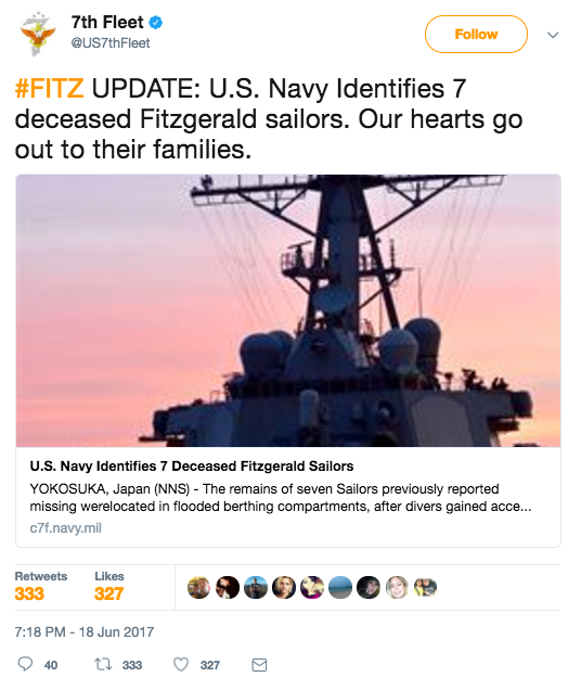 Screen Shot 2017 06 19 at 12.32.52 PM - Mother of USS Fitzgerald sailor says son kept diving to try & save Navy shipmates after collision